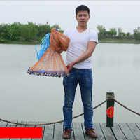 Американская ручная сеть с летающим диском, легкая в использовании рыболовная сеть в американском стиле для ловли нахлыстом диаметром 3-7,2 м...