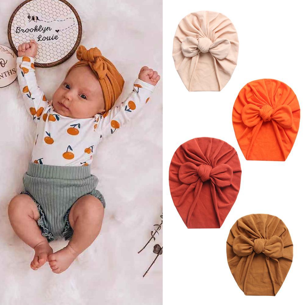 Solid Baby Cotton Beanies Cute Bear Ear Bowknot Turban Hats Sweet Soft 0 4T Elastic Caps for Newborn Baby Boy Girls Headwraps