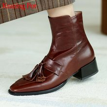 Ботинки челси из бычьей кожи на высоком каблуке в стиле ретро