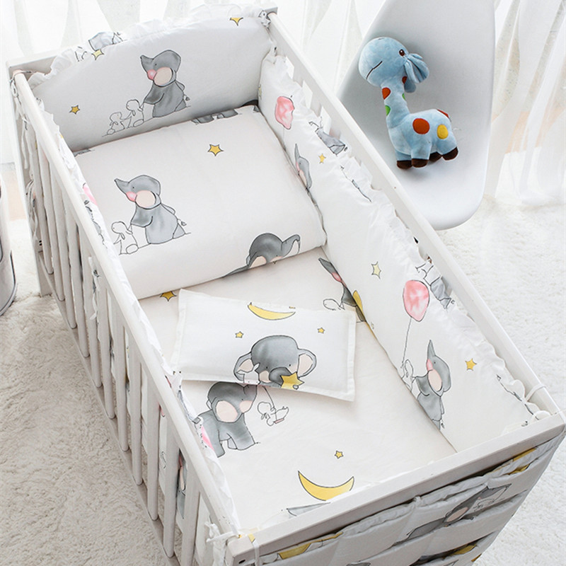 6/9pcs Elephant Crib Bumper Baby Bedding Set Bebe Girls Boy Bed Decoration Toldder Bed Crib Protector 120*60/120*70cm