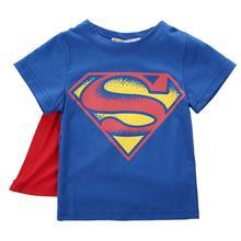 Футболка с короткими рукавами и накидкой для маленьких мальчиков; летняя футболка с суперменом и Бэтменом для детей ясельного возраста; маскарадные костюмы; От 1 до 7 лет