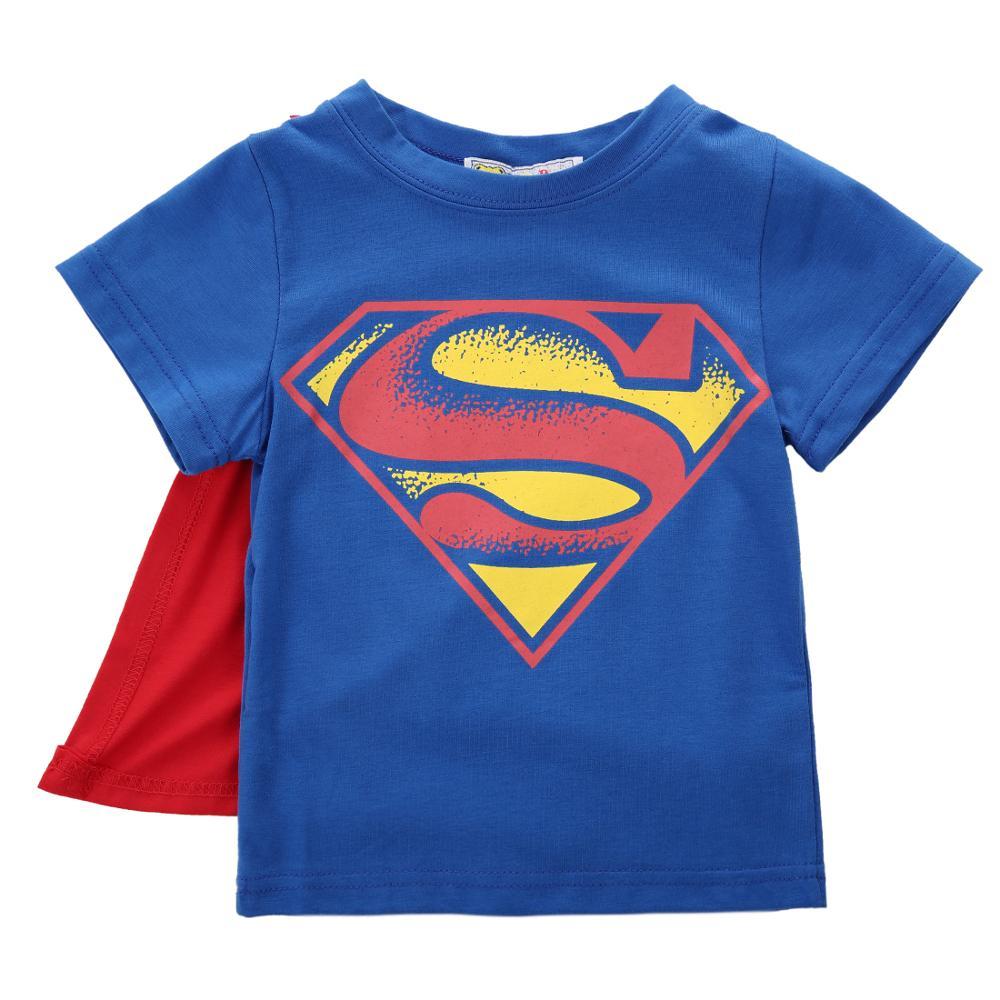Baby Boys Short Sleeve T-shirt With Cloak Toddler Kids Superman Batman Summer Cartoon T Shirt  Tee Tops Cosplay Custumes 1-7T