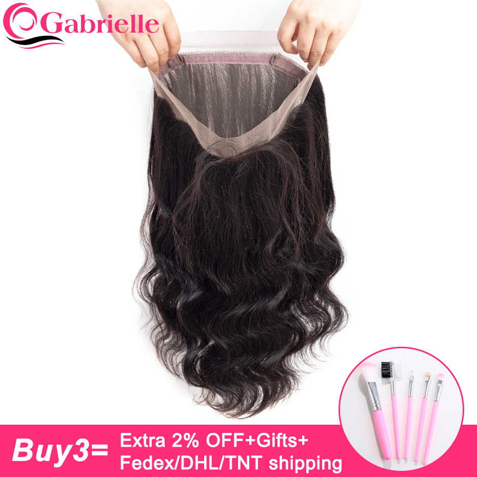 Gabrielle Hair Malaysian Body Wave 360 Lace Frontal Closure with Baby Hair Remy Human Hair Lace Closure Frontal Free Shipping