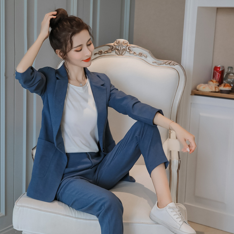 Women's Jacket 2019 Autumn And Winter Casual Fashion Temperament Slim Single Buckle Small Suit Trousers Women's Two-piece Suit