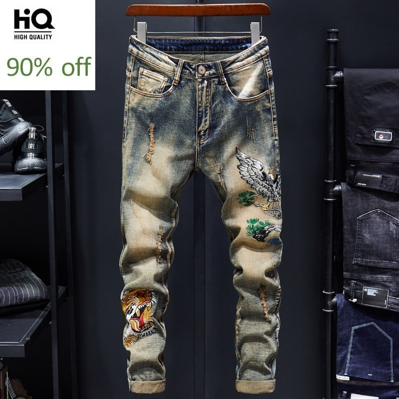 High Street Embroidery Mens Slim Fit Jogger Denim Full Length Pants Korean Autumn Fashion Hole Ripped Casual Cowboy Trousers
