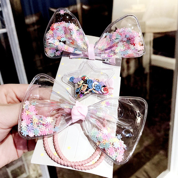 South Korean childrens colorful quicksand hairpin bow star transparent clip girl hair accessories set