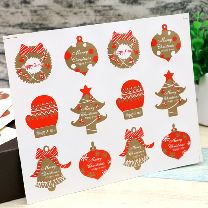 120pcs/pack Baking Seal Christmas Stickers DIY Cake Packaging Office School Supplies For Happy New Years