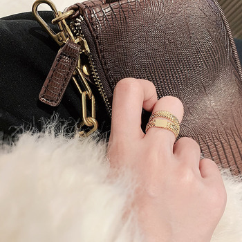 Design Sense Gold Snake Bone Chain Double Layer Rings For Woman 2021 New Korean Jewelry Party Fashion Girl's Unusual Gothic Ring 2