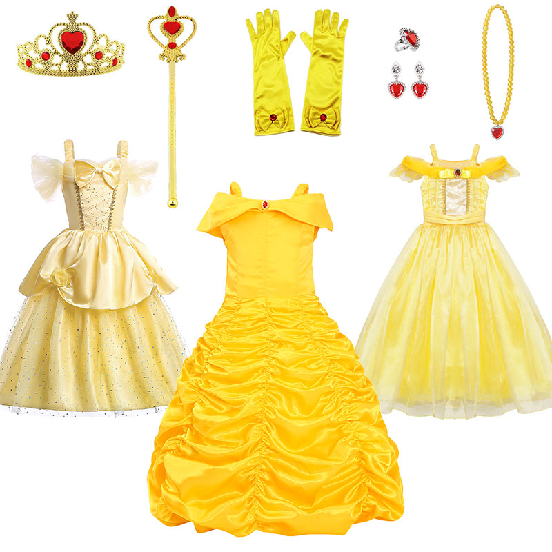 Girls Princess Belle Dress Cosplay Costume Children Off Shoulder Yellow Party Ball Gown Halloween Dresses With Crown Magic Wand