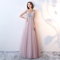 Women Sexy V neck Cheongsam Noble Appliques Chinese Dress Classic Beads Slim Qipao Elegant Prom Gown Light Pink Robe De Soiree
