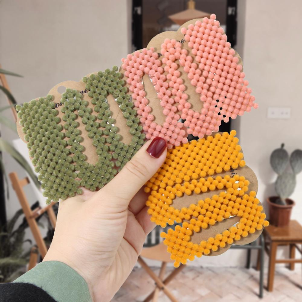 New Winter Velvet Candy Color Square Hairpins Barrettes Fashion Hair Clips Women BB Clip Styling Tool Hair Accessories