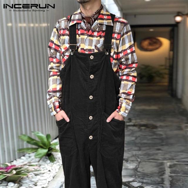 INCERUN Men Corduroy Jumpsuits Solid Bib Pants Loose Streetwear 2020 Suspenders Button Pockets Casual Overalls Men Rompers S-5XL 4