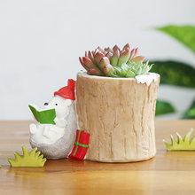 Милый мультфильм цветочные горшки декоративные Рождество Ежик