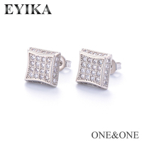 EYIKA Hip Hop AAA Cubic Zircon earring Square 8.5x8.5mm Gold Silver color For Men's Women Street Boy Fashion hiphop Jewelry