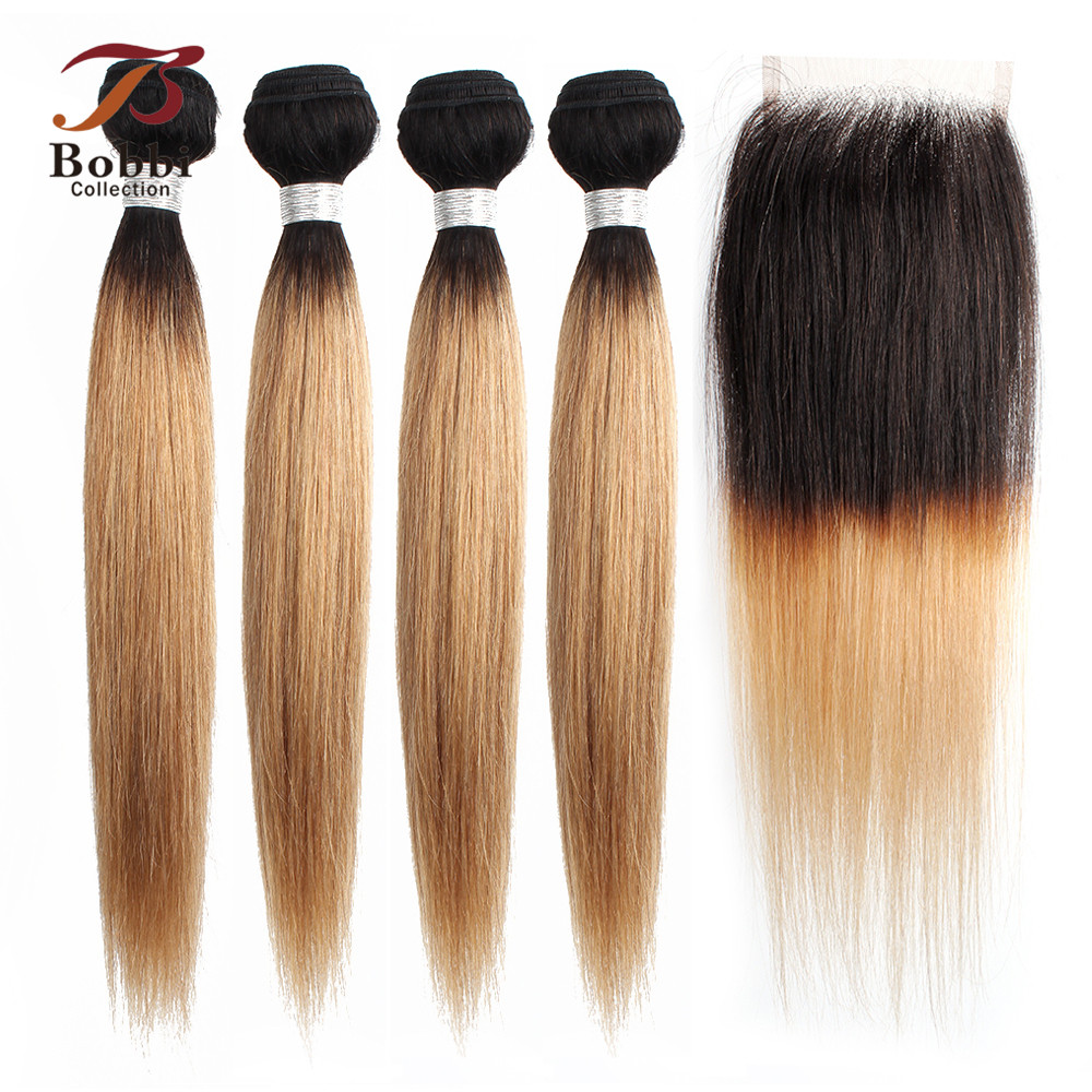 BOBBI COLLECTION T 1B 27 Ombre Honey Blonde Straight 3/4 Bundles With Closure Indian Hair Bundles Non-Remy Human Hair Weave
