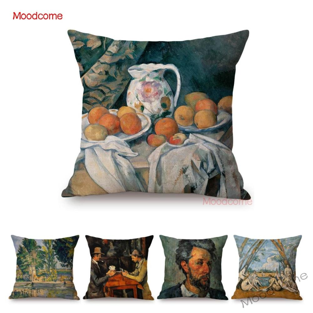 French Impressionism Artist Paul Cezanne Bather Still Life Country Views Oil Painting Sofa Pillow Cover Decorative Cushion Cover image