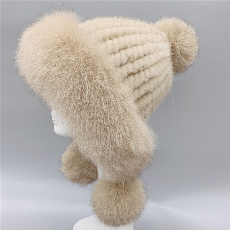 Real mink fur hat with real fox fur trim women winter warm knitted fur pom pom earflap hats  H219