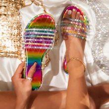 Glitter terlik kadın yaz sandalet 2021 moda Bling kadın renk Flip flop plaj elmas düz ayakkabı açık sandalet 43