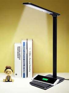 Desk-Lamp Led-Table Brightness Eye-Protect Wireless-Charging Usb-Port 48pc QI 4-Modes