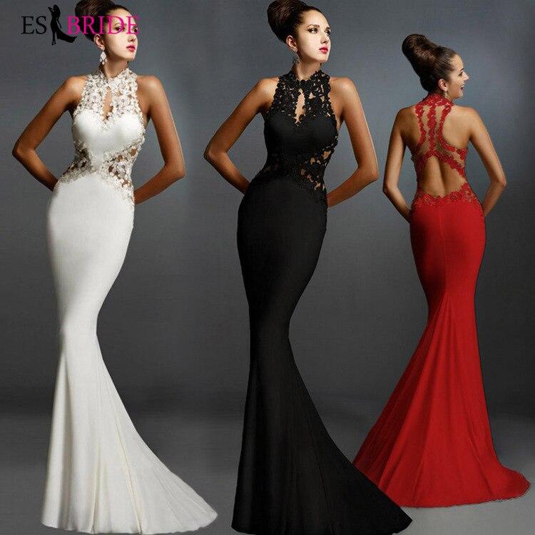 2019 Simple Formal   Dress   Women Elegant Mermaid Muslim   Evening     Dress   Backless Party Sleeveless Fashion   Evening     Dresses   ES2586