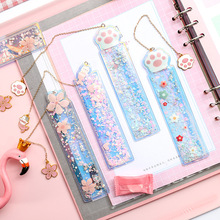 1Pcs Creative Bookmarks Cartoon Quicksand PVC Drawing Ruler Student Lovely Pendant Bookmark Stationery School Supply
