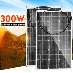18 فولت لوحة طاقة شمسية 300 واط/150 واط شبه مرنة خلية شمسية أحادية البلورية لتقوم بها بنفسك كابل مقاوم للماء في الهواء الطلق موصل شاحن بطارية