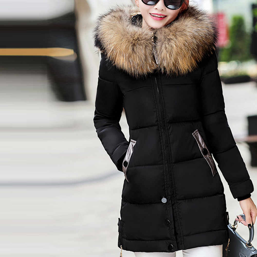 Winter Down Jacket Women Big Fur Belt Hooded Thick Down Parkas Long Coat Female Jacket Slim Warm Thicken Outwear Coat Chaqueta