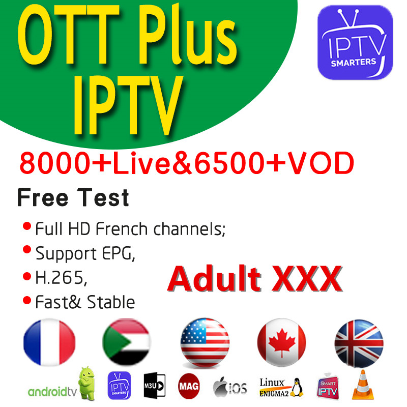 Ott Plus World IPTV Spain France Germany 8000+Live Adult XXX IPTV M3u Android Subscription IPTV French Poland Sweden Italian UK