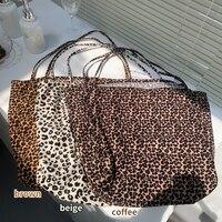 Bolso de hombro grande con estampado de leopardo para mujer, bolsa de compra de tela fina de diseño Retro, bolso de mano de lona Vintage