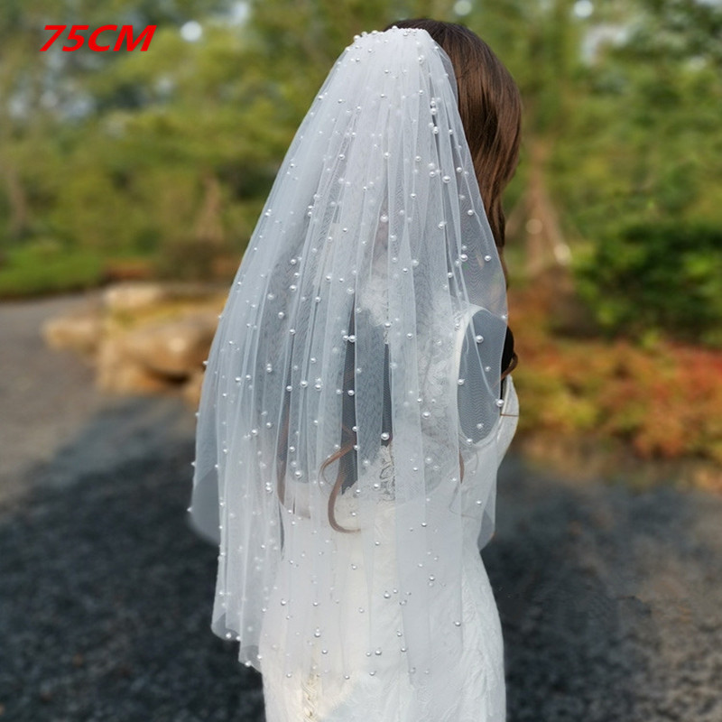 Real Photos White Ivory Long Pearl Veil With Comb Bridal Veil Cathedral Wedding Veil with Pearls Wedding Accessories