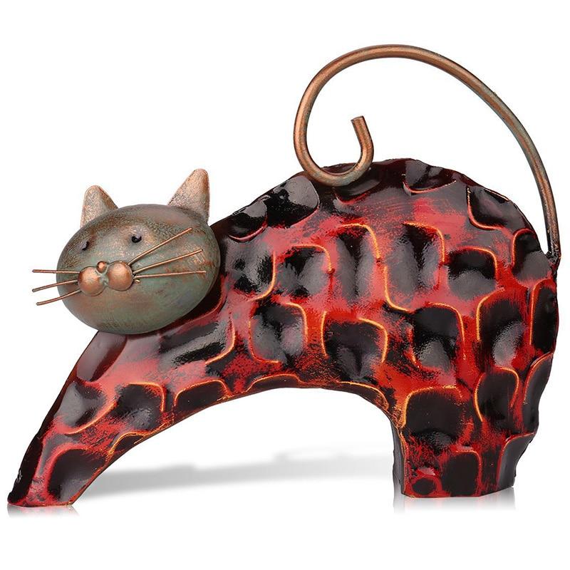 Lazy Cat Metal Figurine Art Iron Sculpture Animal Abstract Sculpture Miniature Figurine Craft Gift for Home Decoration|Figurines & Miniatures| |  - title=