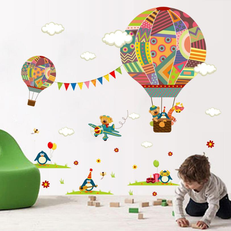 Wall stickers Kids Baby Children/'s Balloon Hot Air Balloons Cloud WallDecal Room