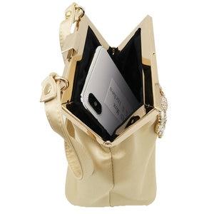 Image 4 - ブティックデfggダイヤモンド女性サテンイブニング財布バッグウェディングカクテル金属クラッチハンドバッグブライダルクリスタルクラッチトートバッグ