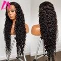 30, 40 дюймов, глубокая волна, фронтальный парик, вьющиеся человеческие волосы, парики, бразильские, водная волна, кружевная передняя часть, па...