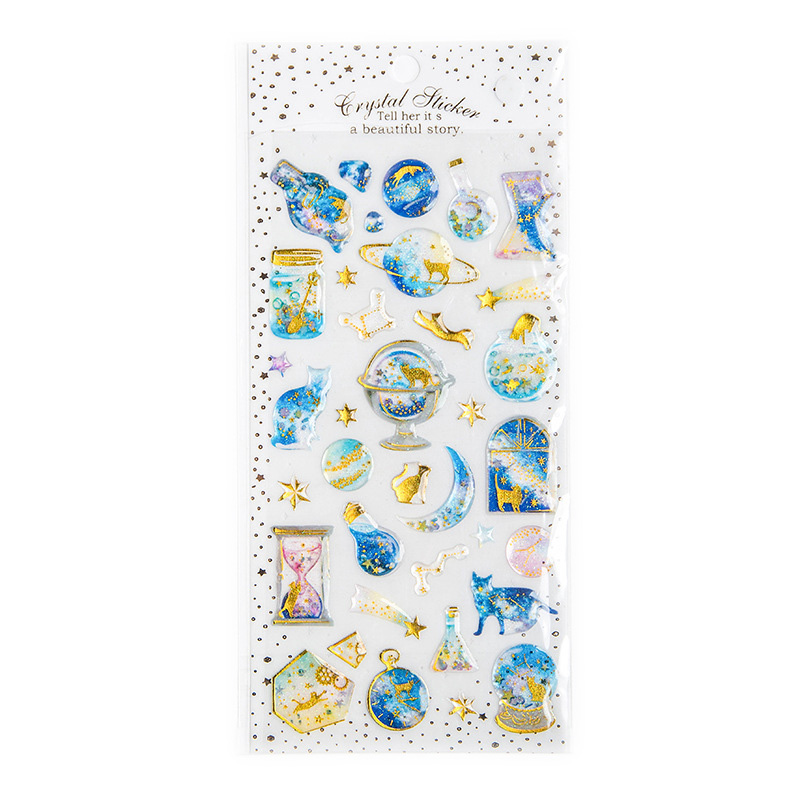 1 Sheet Cute Fantasy Cat And Starry Sky Crystal DIY Stickers Decorative Scrapbooking Diary Album Stick Label Kids Gift