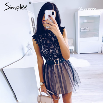 Simplee Women sleeveless lace dress Sexy embroidery floral black short party dress Ladies spring chic night club summer dress 2