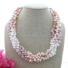 "N112206 20"" 5 Strands Multi Color Top-Drilled Pearl Necklace(China)"