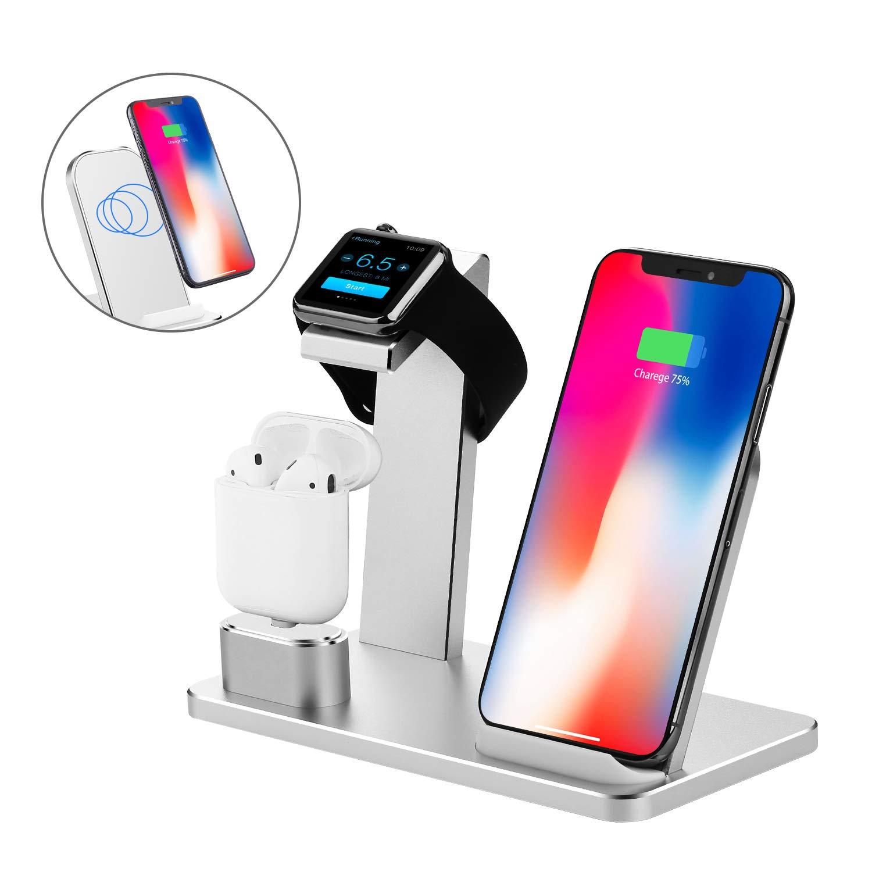 Station de chargement rapide sans fil Station de chargement rapide 3 en 1 quais de chargeur en aluminium pour iPhone X Ipad AirPods série Iwatch et Samsung