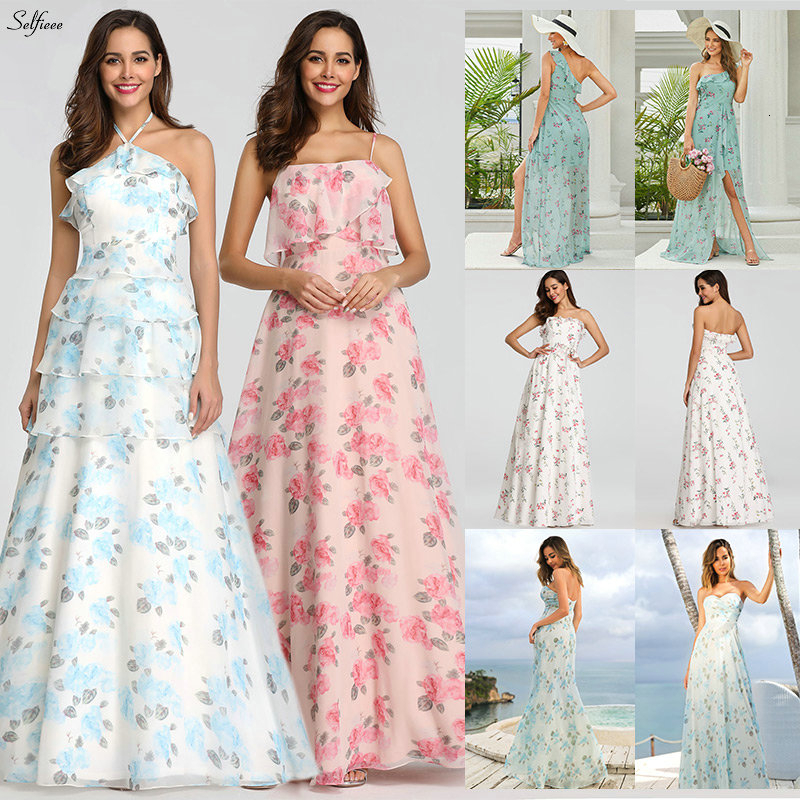 Casual Floral Printed Maxi Dress A-Line Ruffles Spaghetti Straps Chiffon Women Dress Ladies Simple Beach Party Dress Vestidos