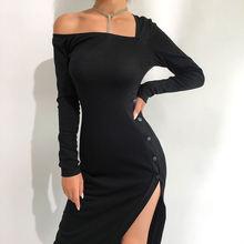 Длинное черное платье футляр с высоким разрезом