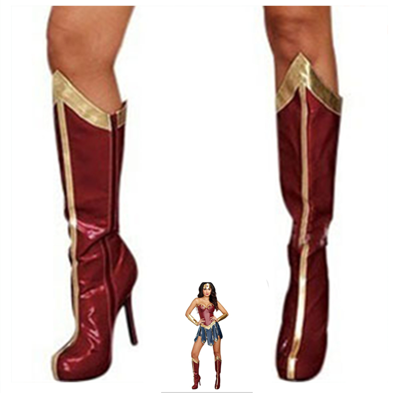 Medieval Wonder Woman Costumes Superhero Cosplay <font><b>Halloween</b></font> Costume Shoes Covers Stockings Socks for <font><b>Women</b></font> <font><b>Sexy</b></font> <font><b>Dress</b></font> Diana image