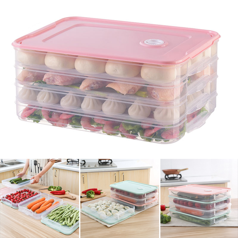 Food Preservation Tray Refrigerator Dumplings Storage Organizer Box With Lid Dropshipping FAS
