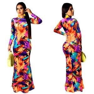 Image 3 - Zarif kadın Boho çiçek baskı Halter bahar ziyafet uzun elbise seksi Backless akşam parti elbiseler Casual vestidos