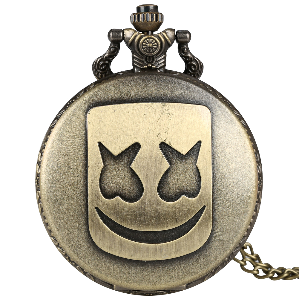 Bronze Marshmallow Mask Pattern Pocket Watches Black/Silver Quartz Watch Necklace Chain Pendant Clock Hours Men Women Gifts
