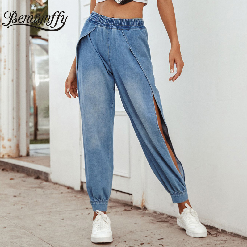 Benuynffy Streetwear Elastic High Waist Jeans For Women Solid Casual Pocket Side Slit Denim Pants Ladies Washed Harem Jeans