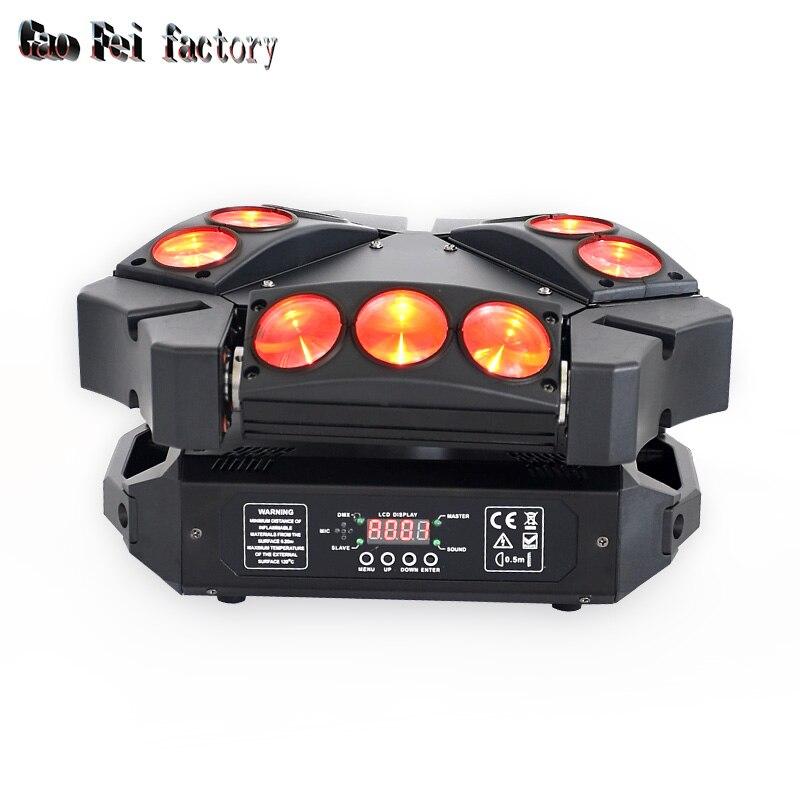 Spider Light 9X10W RGB 9 Eyes Super Beam Moving Head Lights DMX Dj Stage Lights