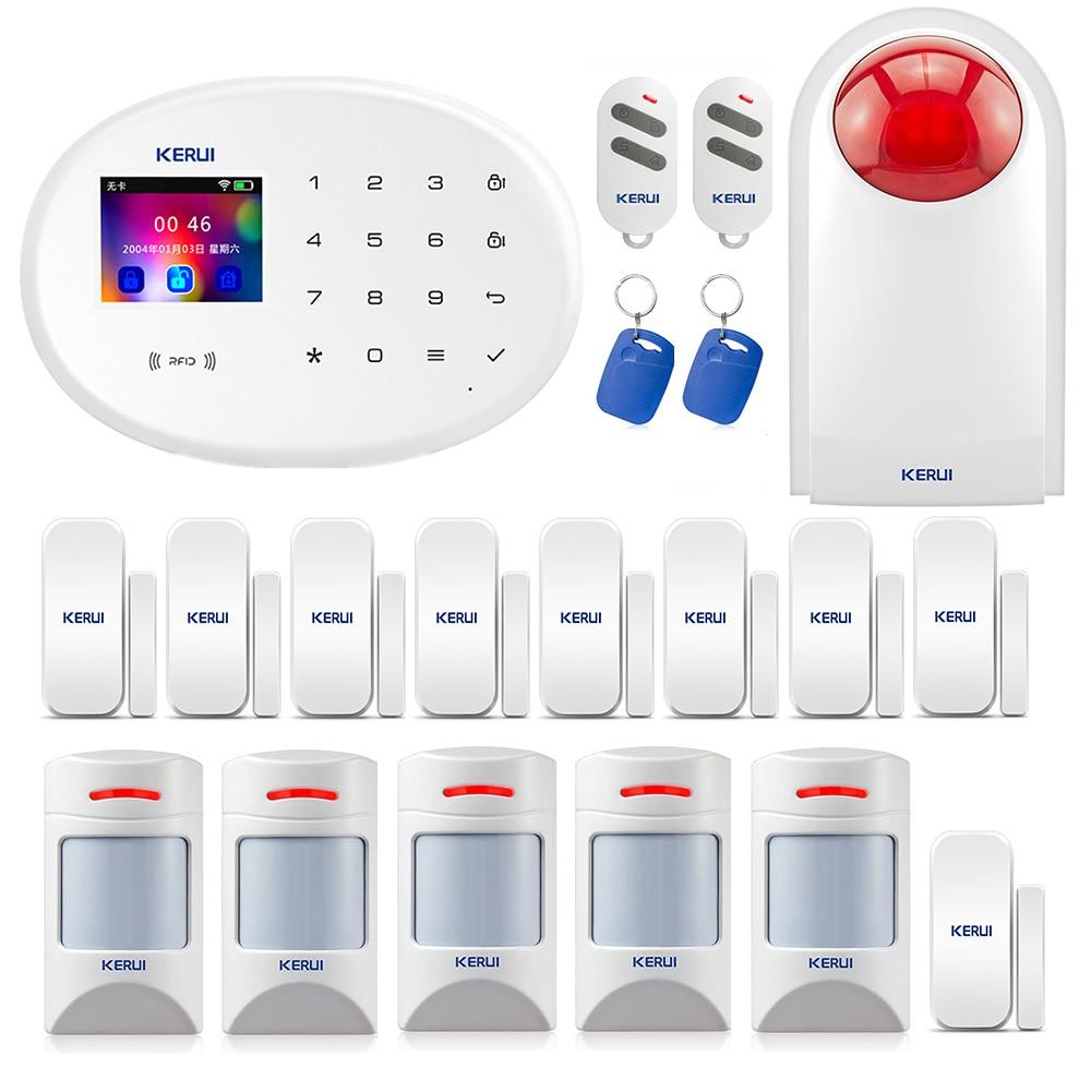 KERUI WIFI GSM W20 RFID Card inteligentny System alarmowy w domu 2.4-calowa klawiatura dotykowa z czujnikiem drzwi Anti-pet Motion Detector
