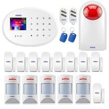 """KERUI système dalarme de sécurité pour maison connectée, wi fi GSM/W20, clavier tactile de 2.4 """", carte RFID, capteur de porte, détecteur de mouvement pour animaux de compagnie"""