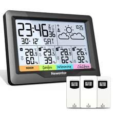 Newentor q5 estação meteorológica com 3 sensores sensor de temperatura sem fio digital indoor outdoor previsão higrômetro umidade