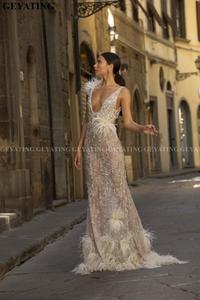 Image 2 - Luxe Kralen Mermaid Veren Prom Dresses 2020 Sexy V hals Backless Afrikaanse Avond Formele Jurk Lange Graduation Gowns